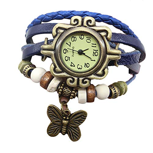 Retro Weave Wrap Lady Bead Butterfly Dangle Bracelet Bangle Quartz Wrist Watch Blue