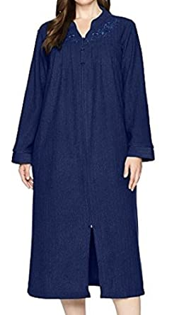 8259963341 Miss Elaine Women s Brushed Back Terry Long Zipper Robe at Amazon ...