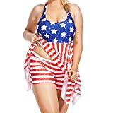Anxinke Women American Flag Printed Two-Pieces Tankini Set Swimsuits with Shorts (3XL)