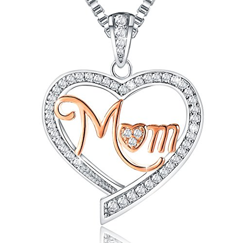"❄Christmas Gifts❄ Ado Glo ""Mom"" Love Heart Pendant Fashion Jewelry Necklace - Women Birthday New Years Eve Present for Mother - Xmas Last-Minute Deals"