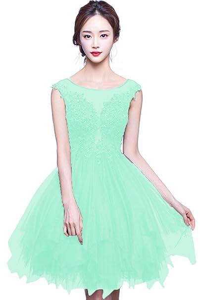 besswedding chica Sexy corto cuchara verde noche de encaje sin mangas vestido de fiesta de Prom