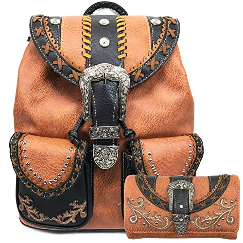 Justin West Trendy Western Rhinestone Leather Conceal Carry Top Handle Backpack Purse (Western Copper Backpack Wallet Set)