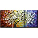 Amei Art Paintings, 24x36 Inchx3 Paintings Oil Hand Painting 3D Hand-Painted On Canvas Abstract Artwork Art Wood Inside Framed Hanging Wall Decoration Abstract Painting