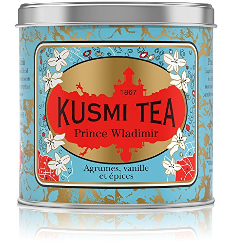 Kusmi Tea - Prince Vladimir - Russian Black Tea Blend with Vanilla, Bergamot & Other Spices - 8.8oz of All Natural, Premium Loose Leaf Black Tea Blend in Eco-Friendly Metal Tin (100 Servings)