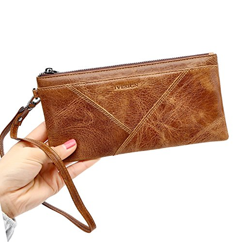 IVESIGN Zipper Wallet RFID Blocking Credit Card Holder Genuine Leather With Wristlet by IVESIGN (Image #1)