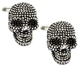 Cufflinks Direct 3D Gothic Silver Skeleton Skull Mens Gift Goth Cuff Links By (Cufflinks With Gift Bag)
