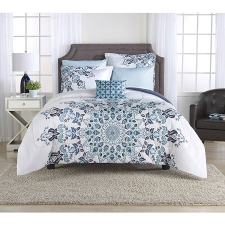 mainstays aqua medallion bedinabag bedding set 100 polyester microfiber twintwin xl