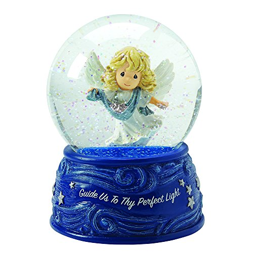 """Precious Moments, Christmas Gifts, """"Angel With Ribbon And Stars"""", Plays Angels We Have Heard On High, Musical Snow Globe, #161105 (Angel Snowglobe Musical)"""
