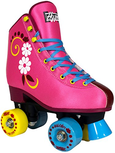 Pink Rink The At (Hype Roller Skates for Girls uGOgrl Kids Quad Roller Skates for Indoor/Outdoor skating | Comfortable, Quality Build, Fun & Cute (Pink with flowers) (2))
