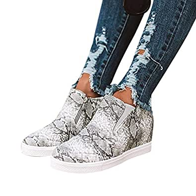Ruanyu Womens Platform Wedge Sneakers Chelsea Slip On Fashion High Top Walking Booties