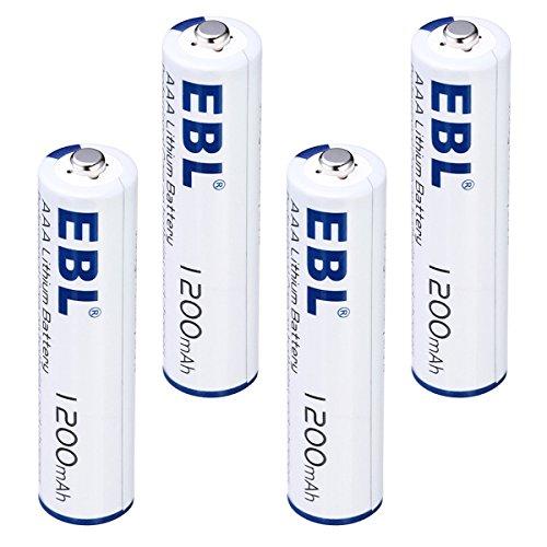 EBL Advanced AAA Lithium Batteries High Capacity 1200mAh 1.5V, 4 Packs