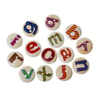 "Rockin Beads Brand, 180 Wood Rockin Beads Sewing Buttons Scrapbooking Mixed Alphabet/letter ""A-z"" Randum 2 Holes Mixed 15mm 3/5 Inch"