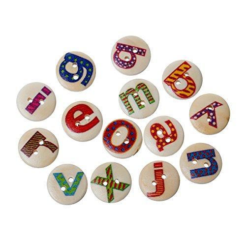 Alphabet Buttons (Rockin Beads Brand, 180 Wood Rockin Beads Sewing Buttons Scrapbooking Mixed Alphabet/letter