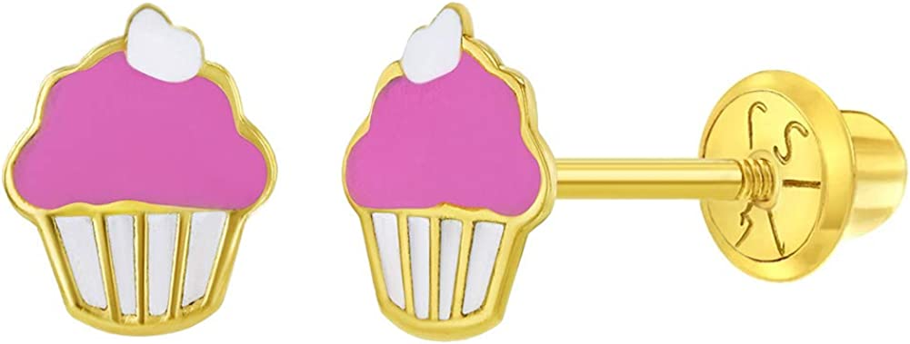 14k Yellow Gold Enamel Cupcake Screw Back Earrings for Toddlers and Young Girls - Fun & Colorful Earring Studs for Toddlers & Little Girls - Real 14k Gold Small Cupcake Stud Earrings for Kids