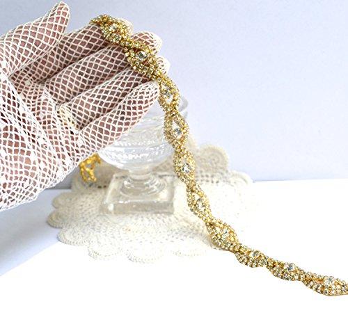 Style Rhinestone Belt (Rhinestones wedding sash S style wedding belts for dress P22c (Gold))