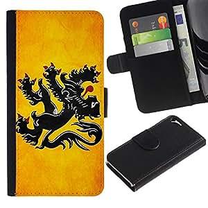 All Phone Most Case / Oferta Especial Cáscara Funda de cuero Monedero Cubierta de proteccion Caso / Wallet Case for Apple Iphone 5 / 5S // National Flag Nation Country Flanders