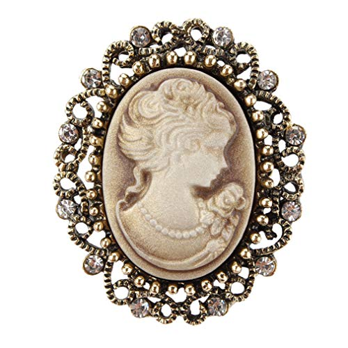 Yellow Gold Cameo Pin - DARLING HER Vintage Queen's Cameo Crystal Brooch Pins for Women in Antique Gold Color Yellow