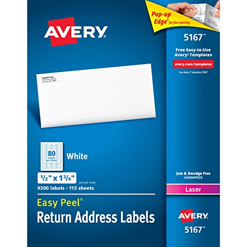 "Avery Easy Peel Return Address Holiday Labels for Laser Printers, .5"" x 1.75"", Box of 9,200 Labels (5167 Template)"