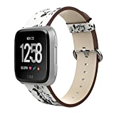 Amawell For Fitbit Versa Bands, Floral Printed Soft PU Leather Wristband Replacement Accessories Fitness Strap for Versa Women Men. (White/Gray Flower, 5.11''-7.87'')