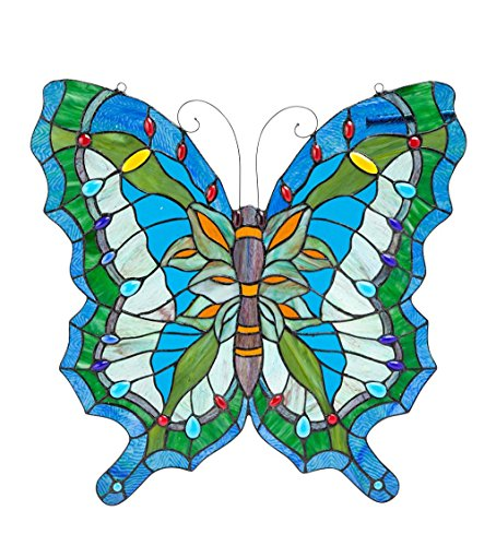 Wind & Weather Hanging Stained Butterfly Suncatcher Window Panel-Handcrafted with 221 Pieces of Glass and 34 Faux Jewels Wall Decor, W x 22.25 H x 0.25 D, Multicolored (Glass Stained Handcrafted Suncatcher)