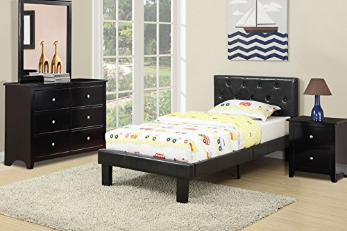 Modern twin bed that features a twin sized frame with a black faux leather upholstered headboard and footboard with accent tufting by Advanced Furniture