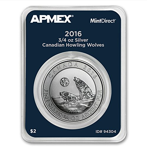 2016 CA Canada 3/4 oz Silver Howling Wolves (APMEX MintDirect® Single) Silver Brilliant Uncirculated