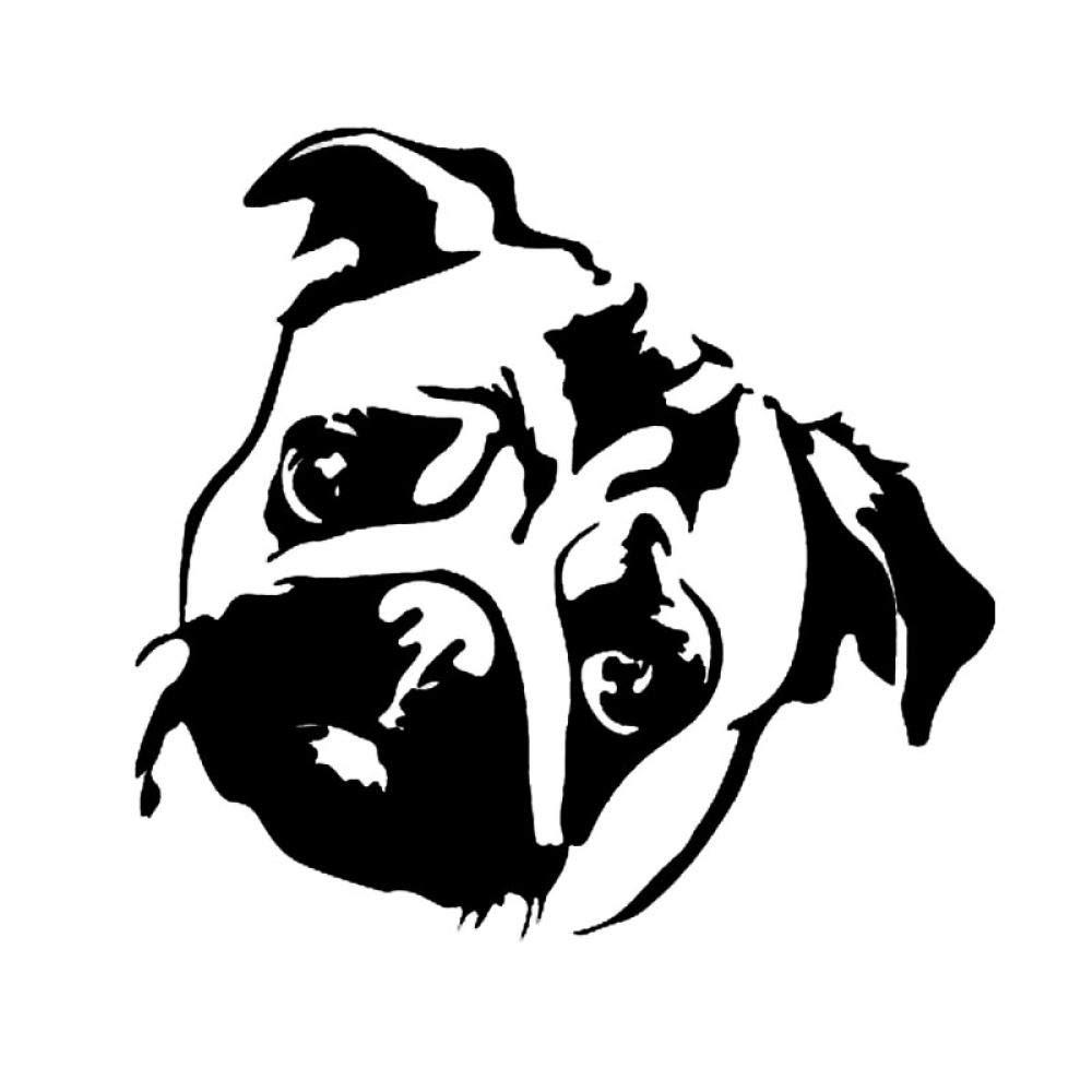 14.1 Cm Carino Carlino Cane Finestra Decorazione Decalcomania Del Vinile Animale Creativo Autoadesivo DellAutomobile Del Fumetto Nero//Argento-Argento Adesivi Per Paraurti Adesivi Per Auto 15
