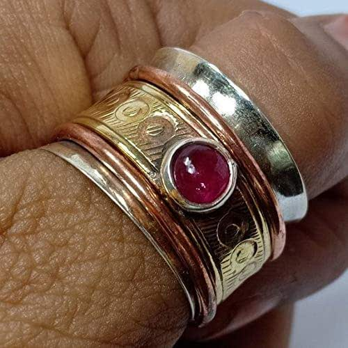 Spinner Ring Brass Thumb Ring Mother Gift Ring All Size Meditation Ring,Statement Ring 925 Sterling Silver /&  Band Ring Copper Handmade