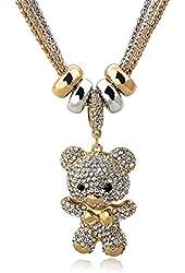 Long Way® Women's Gold Silver Chain Austrian Crystal Full Rhinestone Bear Drop Pendant Necklace