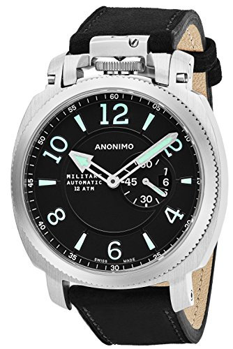 Anonimo Mens Military 43 MM Black Face Date Black Suede/Leather Strap Swiss Mechanical Watch AM100001002A01