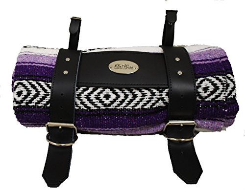 LaRosa Design Mexican Purple Serape Roll-Up Blanket W/Special La Rosa Black Leather Strap, (Knucklehead Leather Jackets)