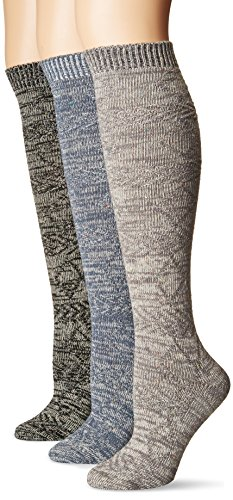 Muk Luks Women's 18'' Knee High Confetti Diamond Socks, Multi, One Size fits - Womens Socks Diamond