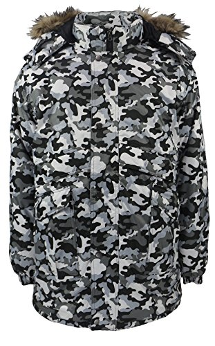 Men's Three Quarter Length Synthetic Insulated Camouflage Puff Jacket with Detachable Hood (Camo Grey, (Three Quarter Length Jacket)