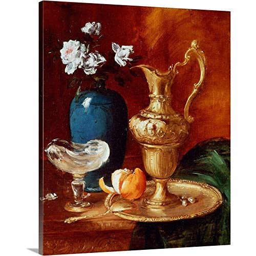 GREATBIGCANVAS Gallery-Wrapped Canvas Entitled Still Life of a Gilt Ewer, vase of Flowers and a facon de Venise Bowl by Antoine Vollon 10