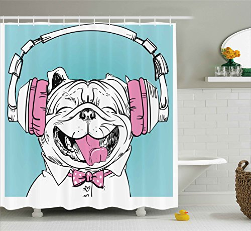 Ambesonne Animal Shower Curtain, Cute Vintage Portrait of a Dog with Headphones Pop Art Hipster Sketch Image, Fabric Bathroom Decor Set with Hooks, 75 inches Long, Aqua Pink and White
