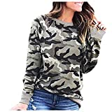 Honghii Women's Camouflage Print Blouse Tunic Top Vintage Round Neck T Shirt Sweatshirts Pullover Outdoor Plus Size