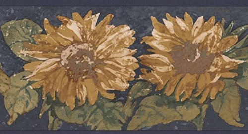 Yellow Flowers Navy Blue Retro Wallpaper Border Paint by Design, Roll 15' x (