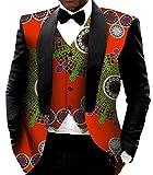 SYTX Mens Africa Print Fashion Dashiki Blazer Vest And Blazer Jacket Outfit 1 S