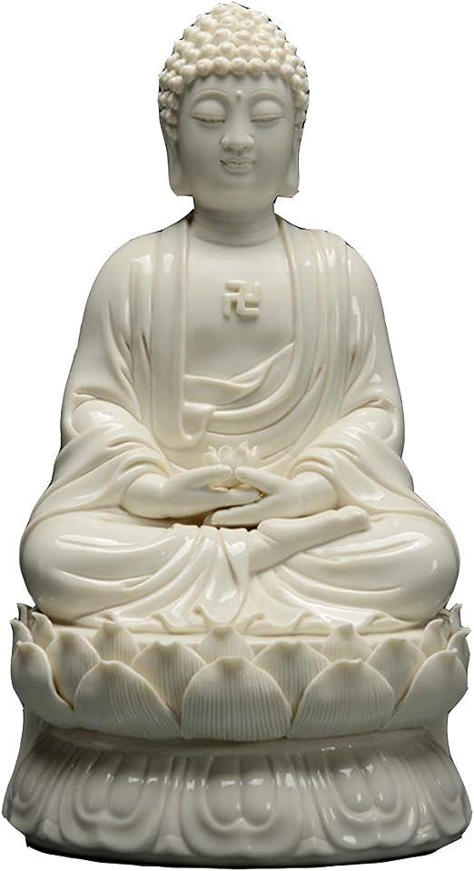Estatua Estatua de Buda, Jardín de Efecto cerámico de Buda Sentado Ornamento Interior de la Estatua al Aire Libre: Amazon.es: Hogar