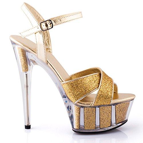 alto estate temperamento sexy punta Golden ad In europeo da stile moda scarpe con tacco semplice scarpe personalità donna YMFIE YOzCxqx