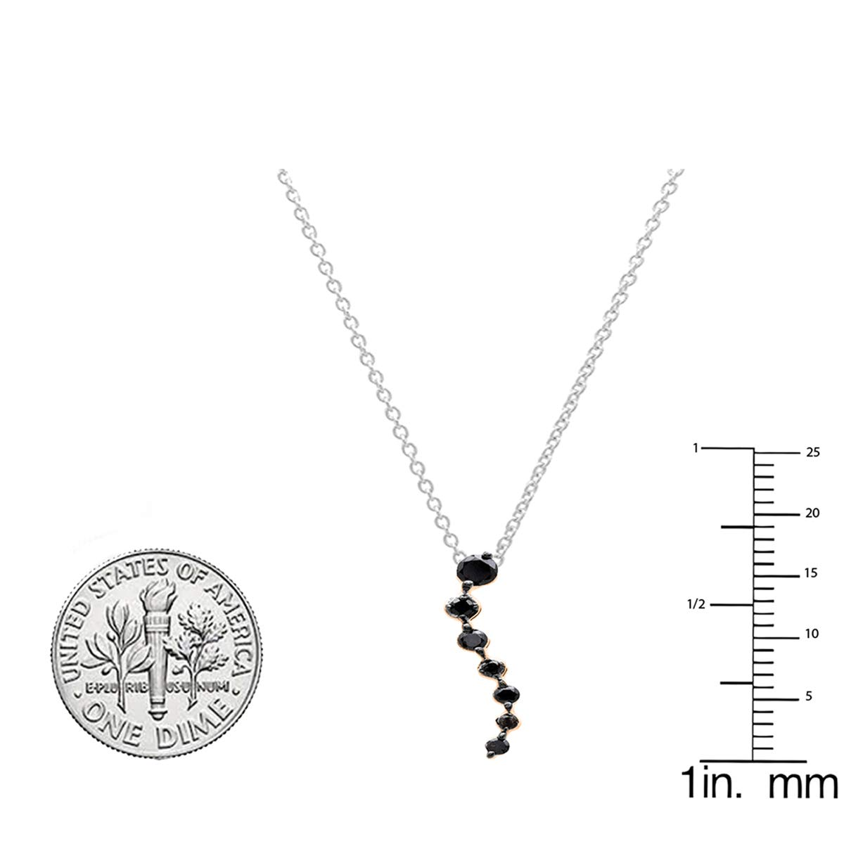 0.20 Carat ctw 14K Gold Round Black Diamond Ladies Graduating Journey Pendant 1//5 CT