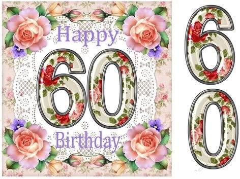 Gran rosa 60 años de edad tarjeta de cumpleaños frente por ...