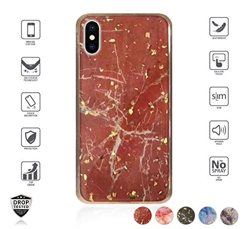 (2018) for Women, Marble Design with Glitter Bling Girly Dual Layer Trendy Beautiful Hybrid case [Shockproof] (Red) ()