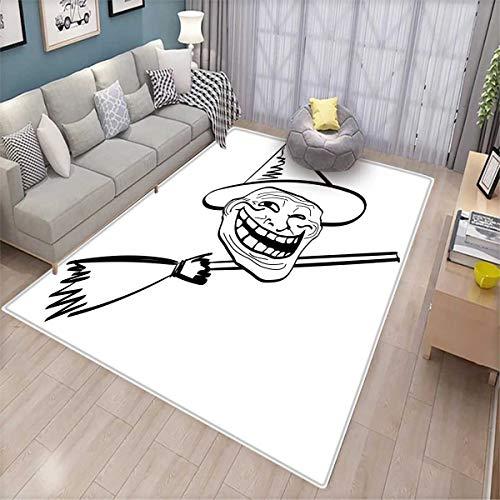 Humor Bath Mats Carpet Halloween Spirit Themed Witch Guy Meme LOL Joy Spooky Avatar Artful Image Print Door Mats for Inside Non Slip Backing Black and -