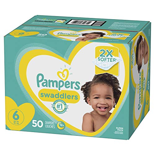 Diapers Size 6, 50 Count - Pampers Swaddlers Disposable Baby Diapers, Super Pack