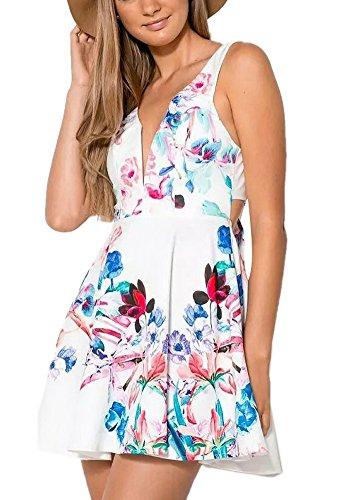 Enlishop Women Sexy Beach White Low Cut Tie Backless Skater Mini Floral Dress