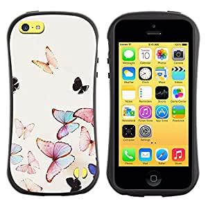 Fuerte Suave TPU GEL Caso Carcasa de Protección Funda para Apple Iphone 5C / Business Style butterfly watercolor spring flying nature
