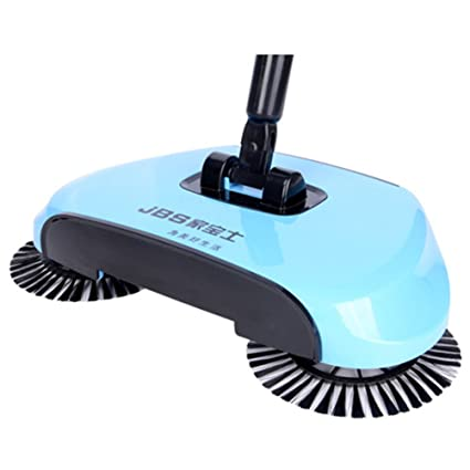 YJBear 360 Rotary Manual Floor Dust Sweeper Household Cleaning Hand Push  Sweeper Broom Without Electricity 3 in 1 Portable Sweeping Machine Lake Blue