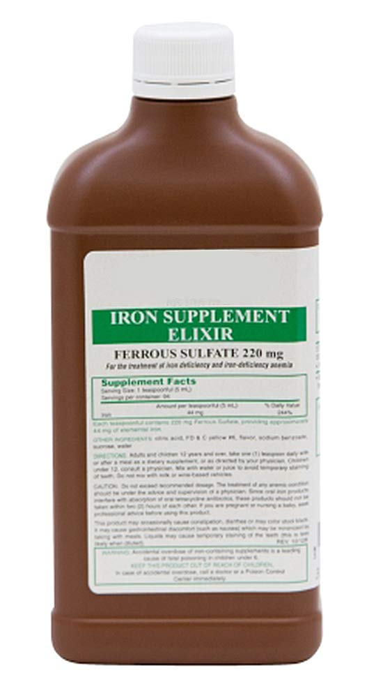 12 Bottles of Iron Supplement Elixir. Ferrous sulfate Elixir 220 mg (5 ml). 16 oz. per Bottle. Liquid Iron Supplement to Treat or Prevent Iron-Deficiency. Latex-Free.
