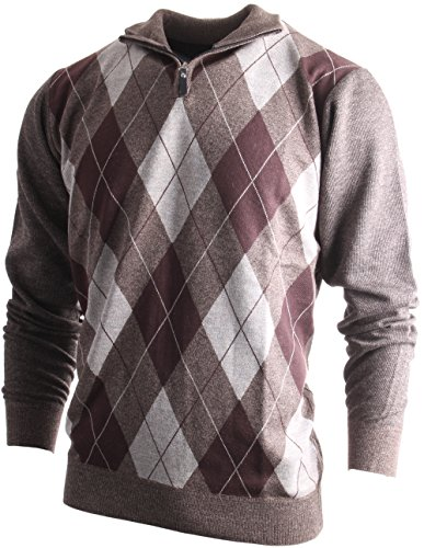 (Enimay Men's Fashion Business Casual Long Sleeve Half Zip Argyle Pull Over Vintage Light Brown Argyle)